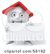 3d White Clay Home Character Holding A Blank Business Card Version 1 by Julos