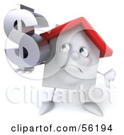 Royalty Free RF Clipart Illustration Of A 3d White Clay Home Character Holding A Dollar Symbol Version 2