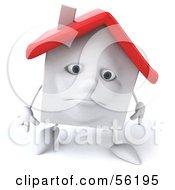 Sad 3d White Clay Home Character Walking Forward by Julos