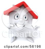 3d White Clay Home Character Pointing Right by Julos