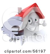 Royalty Free RF Clipart Illustration Of A 3d White Clay Home Character Holding A Euro Symbol Version 1