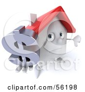 Royalty Free RF Clipart Illustration Of A 3d White Clay Home Character Holding A Dollar Symbol Version 1