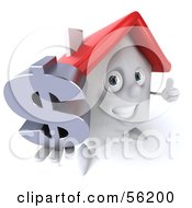 Royalty Free RF Clipart Illustration Of A 3d White Clay Home Character Holding A Dollar Symbol Version 3