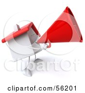 Royalty Free RF Clipart Illustration Of A 3d White Clay Home Character Using A Megaphone Version 2