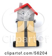 Royalty Free RF Clipart Illustration Of A 3d White Clay Home Character Moving Boxes On A Dolly Version 2