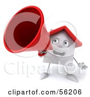 3d White Clay Home Character Using A Megaphone Version 1 by Julos