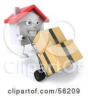 Royalty Free RF Clipart Illustration Of A 3d White Clay Home Character Moving Boxes On A Dolly Version 1