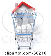 Royalty Free RF Clipart Illustration Of A 3d White Clay Home Character Pushing A Shopping Cart Version 1