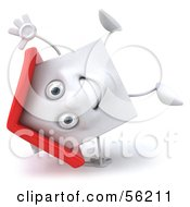 3d White Clay Home Character Doing A Cartwheel by Julos