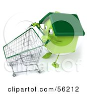 Royalty Free RF Clipart Illustration Of A 3d Green Clay Home Character Pushing A Shopping Cart Version 3