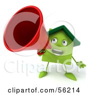 3d Green Clay Home Character Using A Megaphone Version 1 by Julos