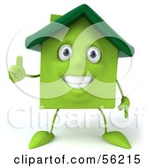 3d Green Clay Home Character Holding His Thumb Up by Julos