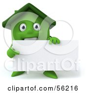 3d Green Clay Home Character Holding A Blank Business Card by Julos