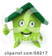 3d Green Clay Home Character Giving The Thumbs Up by Julos