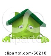 3d Green Clay Home Character Standing Behind A Blank Sign by Julos
