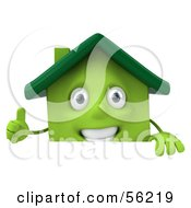 3d Green Clay Home Character Giving The Thumbs Up And Standing Behind A Blank Sign by Julos