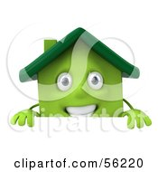 3d Green Clay Home Character Standing Behind A Sign Board by Julos