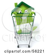 Royalty Free RF Clipart Illustration Of A 3d Green Clay Home Character Pushing A Shopping Cart Version 2