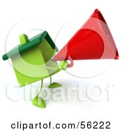 3d Green Clay Home Character Using A Megaphone Version 2 by Julos