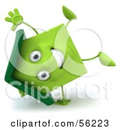 3d Green Clay Home Character Doing A Cartwheel by Julos