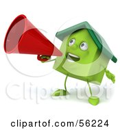 3d Green Clay Home Character Using A Megaphone Version 3 by Julos
