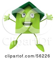 3d Green Clay Home Character Jumping Version 1 by Julos