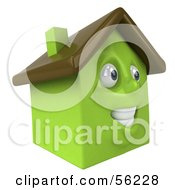 3d Green Clay Home Character Smiling Version 2 by Julos