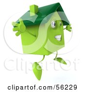 3d Green Clay Home Character Jumping Version 2 by Julos