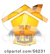 Royalty Free RF Clipart Illustration Of A 3d Yellow Home With With A Chimney Version 2
