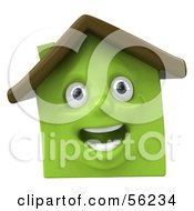 Royalty Free RF Clipart Illustration Of A 3d Green Clay Home Character Smiling Version 3 by Julos