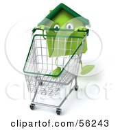 3d Green Clay Home Character Pushing A Shopping Cart Version 1 by Julos