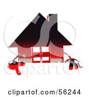 3d Red Chrome House Character Pointing Down And Standing Behind A Blank Sign by Julos