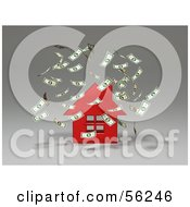 Royalty Free RF Clipart Illustration Of Money Falling Down Around A 3d Red House Version 2