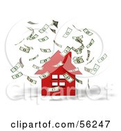 Royalty Free RF Clipart Illustration Of Money Falling Down Around A 3d Red House Version 1
