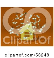 Royalty Free RF Clipart Illustration Of Money Falling Down Around A 3d Yellow House Version 2
