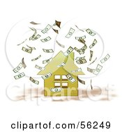 Royalty Free RF Clipart Illustration Of Money Falling Down Around A 3d Yellow House Version 1