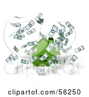 Royalty Free RF Clipart Illustration Of Money Falling Down Around A 3d Green House