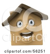 Royalty Free RF Clipart Illustration Of A 3d Brown Clay Home Character Smiling Version 2 by Julos