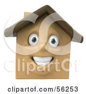 3d Brown Clay Home Character Smiling Version 1 by Julos