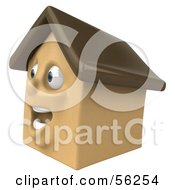3d Brown Clay Home Character Facing Left by Julos