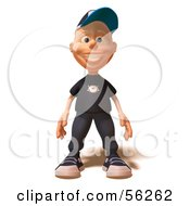Royalty Free RF Clipart Illustration Of A 3d White Male Kid Facing Front