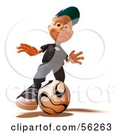 Royalty Free RF Clipart Illustration Of A 3d White Male Kid Playing Soccer Version 3 by Julos