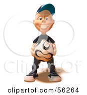 Royalty Free RF Clipart Illustration Of A 3d White Male Kid Holding A Soccer Ball by Julos