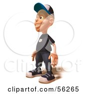 Royalty Free RF Clipart Illustration Of A 3d White Male Kid Facing Left by Julos