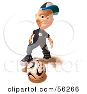 Royalty Free RF Clipart Illustration Of A 3d White Male Kid Playing Soccer Version 1 by Julos