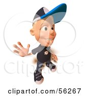 Royalty Free RF Clipart Illustration Of A 3d White Male Kid Waving Version 2 by Julos