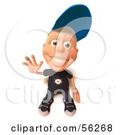 Royalty Free RF Clipart Illustration Of A 3d White Male Kid Waving Version 1 by Julos