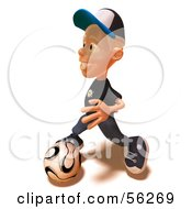 Royalty Free RF Clipart Illustration Of A 3d White Male Kid Playing Soccer Version 2 by Julos