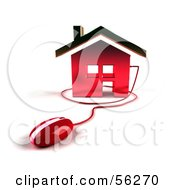 Royalty Free RF Clipart Illustration Of A 3d Home Icon With A Computer Mouse Version 5 by Julos