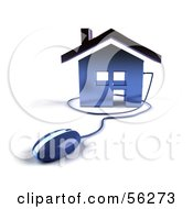 Royalty Free RF Clipart Illustration Of A 3d Home Icon With A Computer Mouse Version 4 by Julos